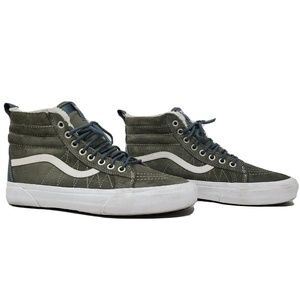 Vans Faux Fur High Tops Dusty Olive US M 8 W 9.5